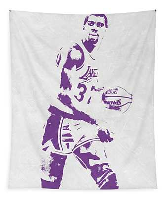 Magic Johnson Los Angeles Lakers Pixel Art Tapestry