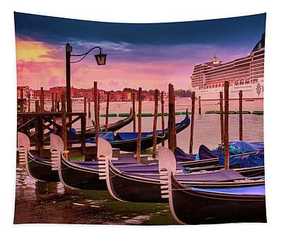 Gondolas And Cityscape At Sunset In Venice, Italy Tapestry