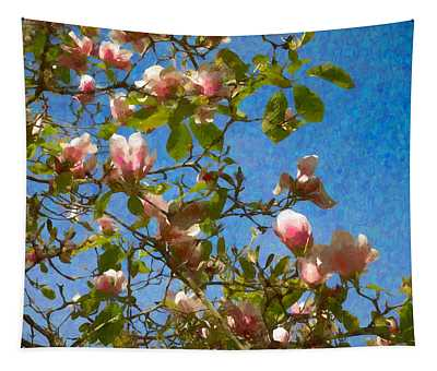 Magnolia Branches With Blue Sky Tapestry