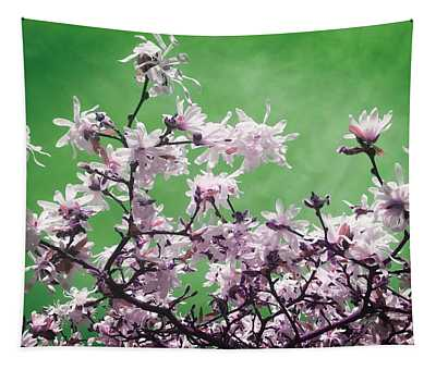 Magnolia Sky In Emerald Green Tapestry