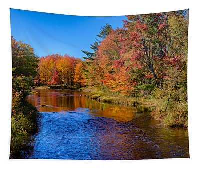 Maine Brook In Afternoon With Fall Color Reflection Tapestry