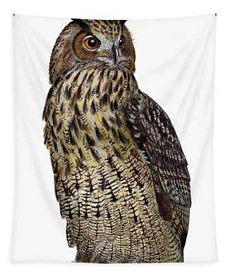 Majestic Eurasian Northern Eagle Owl Bubo Bubo - Hibou Grand-duc - Buho Real - Nationalpark Eifel Tapestry