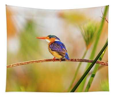 Malachite Kingfisher Hunting Tapestry