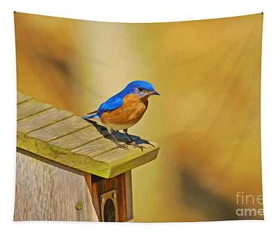 Male Blue Bird Guarding House Tapestry