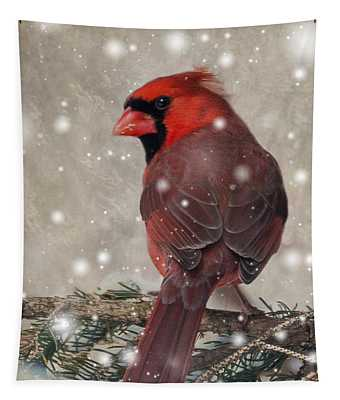Male Cardinal In Snow #1 Tapestry