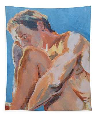 Male Nude Painting Tapestry