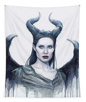 Maleficent Watercolor Portrait Tapestry