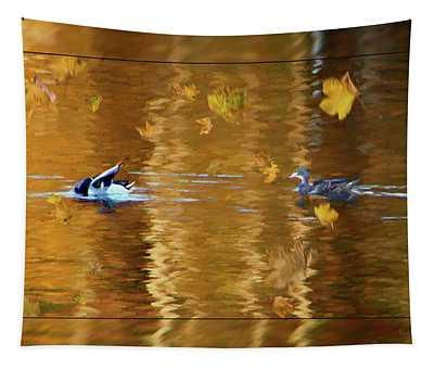Mallard Ducks On Magnolia Pond - Painted Tapestry