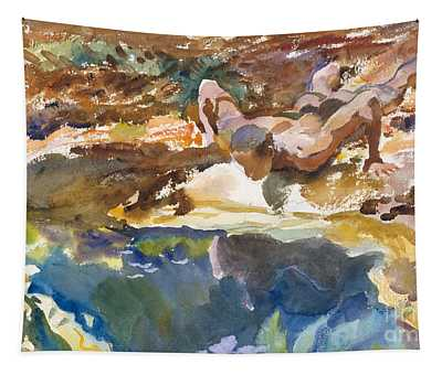 Man And Pool, Florida, 1917 Tapestry
