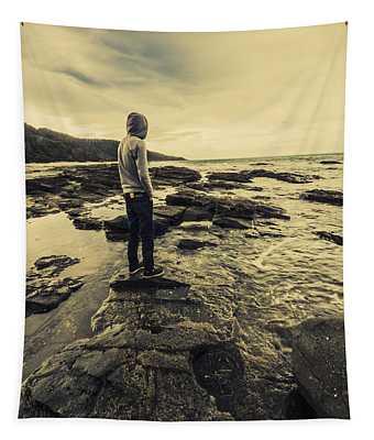 Man Gazing Out On Coastal Rocks Tapestry