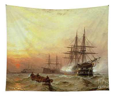 Man-o-war Firing A Salute At Sunset Tapestry