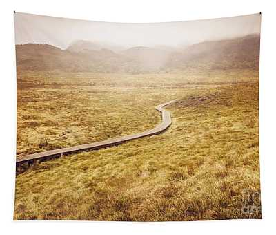 Man On Expedition Along Cradle Mountain Boardwalk Tapestry