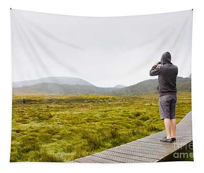 Man On Trekking Holiday Taking Phone Photograph Tapestry