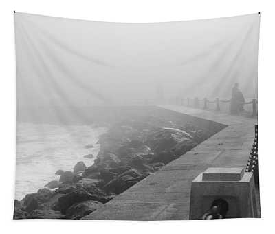 Man Waiting In Fog Tapestry