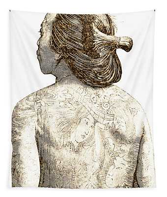 Man With Traditional Japanese Irezumi Tattoos Tapestry