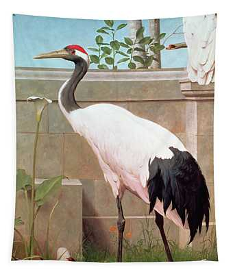 Manchurian Crane, Cockatoo And Robin Tapestry