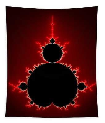 Mandelbrot Set Black And Red Square Format Tapestry