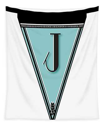 Pennant Deco Blues Banner Initial Letter J Tapestry
