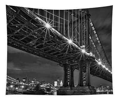Manhattan Bridge Frames The Brooklyn Bridge Tapestry