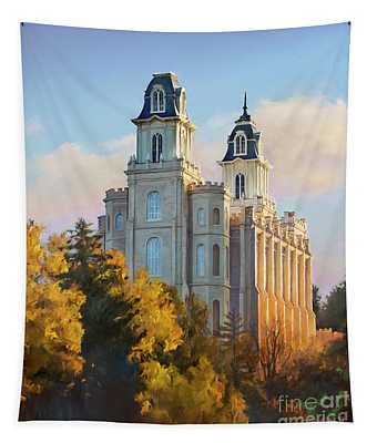 Manti Temple Tall Tapestry