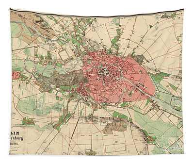 Map Of Berlin, 1857 Tapestry
