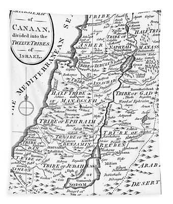 Map Of Canaan Showing The Twelve Tribes Tapestry
