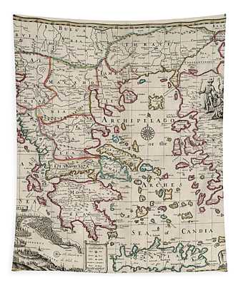 Map Of Greece Tapestry