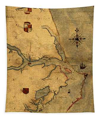 Map Of Outer Banks Vintage Coastal Handrawn Schematic On Parchment Circa 1585 Tapestry