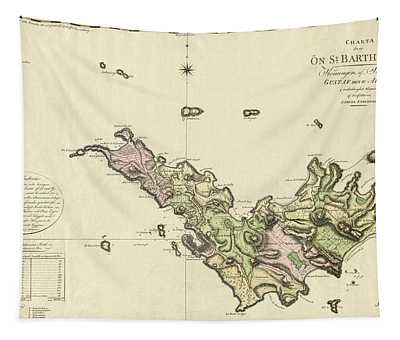 Map Of Saint Barts 1801 Tapestry