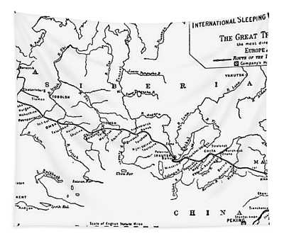 Map Of The Trans-siberian Railway Tapestry