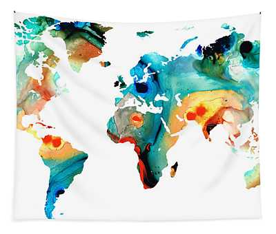 Map Of The World 11 -colorful Abstract Art Tapestry