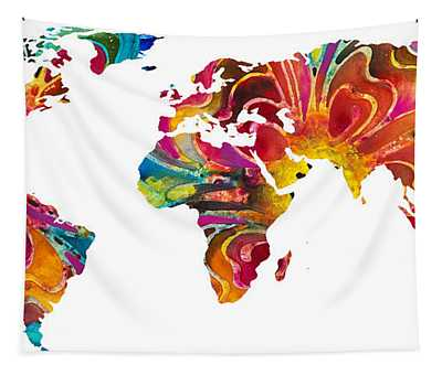 Map Of The World 2 -colorful Abstract Art Tapestry
