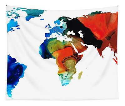 Map Of The World 3 -colorful Abstract Art Tapestry