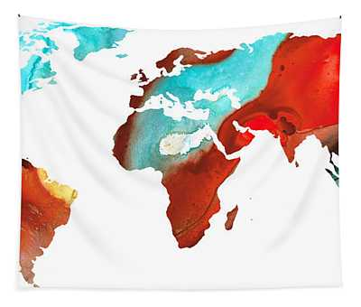 Map Of The World 4 -colorful Abstract Art Tapestry