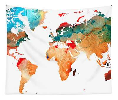 Map Of The World 7 -colorful Abstract Art Tapestry