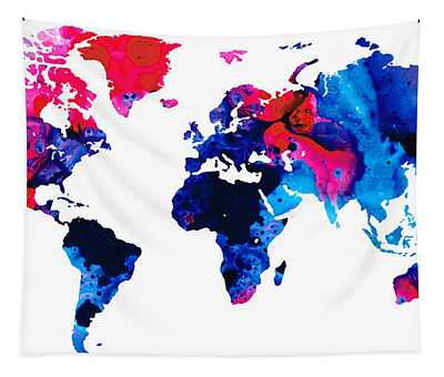Map Of The World 9 -colorful Abstract Art Tapestry