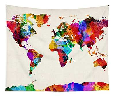 Map Of The World Map Abstract Painting Tapestry