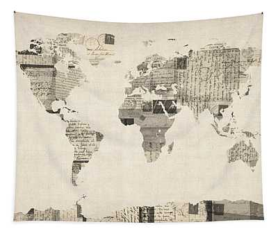 Map Of The World Map From Old Postcards Tapestry