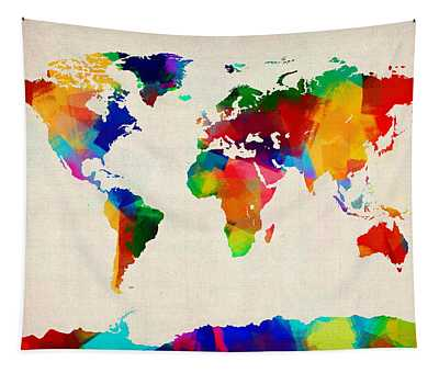 Map Of The World Map Tapestry