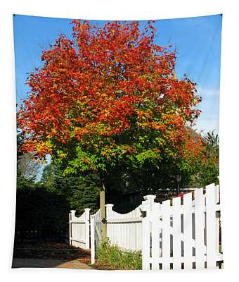 Maple And Picket Fence Tapestry