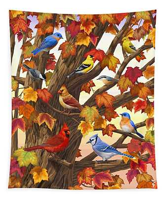 Maple Tree Marvel - Bird Painting Tapestry