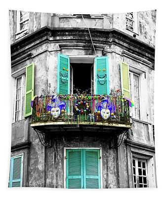 Mardi Gras Balcony Fusion New Orleans Tapestry