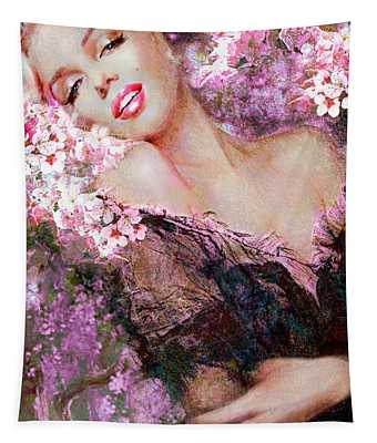 Marilyn Cherry Blossoms Pink Tapestry