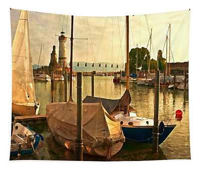 Marina At Golden Light - Digital Paint Tapestry