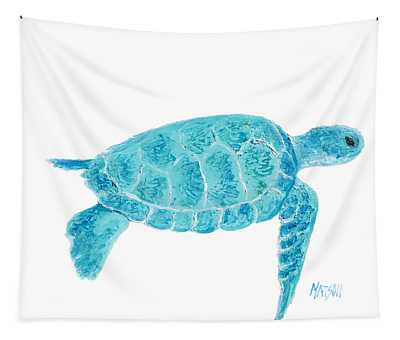 Marine Turtle Painting On White Tapestry