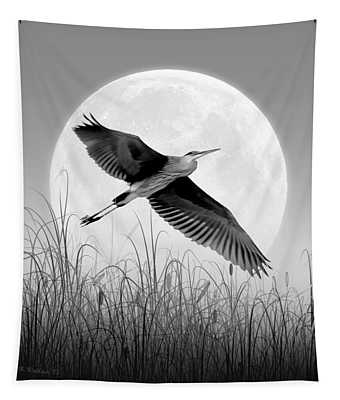 Marsh Mellow Moon - Grayscale Tapestry