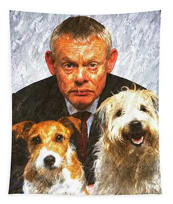 Martin Clunes As Doc Martin With Dogs Oil Painting Tapestry