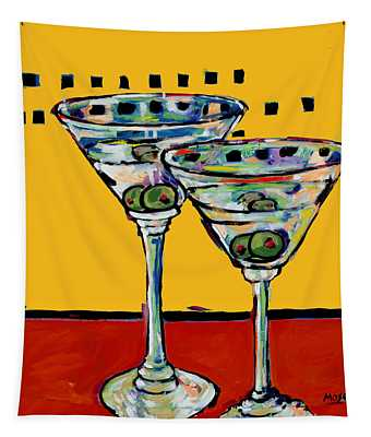 Martini On Yellow Tapestry