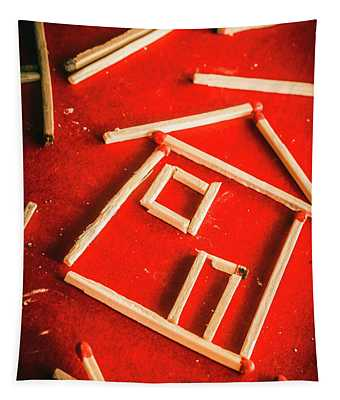 Matchstick Houses Tapestry