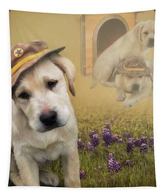 Maverick And Tori - Labrador Art Tapestry